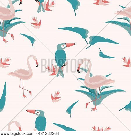 Seamless Trendy Tropical Pattern With Pink Flamingo And Toucan Birds, Tropic Leaves On Pink Backgrou