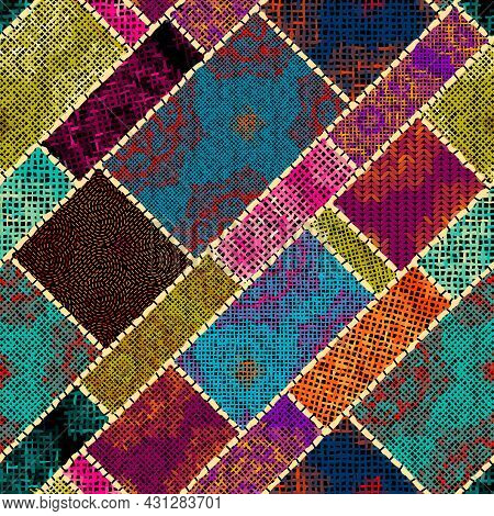 Imitation Of A Texture Of Rough Canvas. Seamless Pattern.