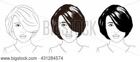 Colored Hand Drawn Beautiful Girl With Black Messy Hair In Bun, Pretty Woman Vector Illustration
