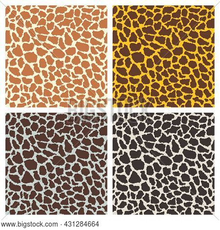 Vector Giraffe Print, Seamless Pattern Set. Fashion Animal Design, Giraffe Skin Template For Print,