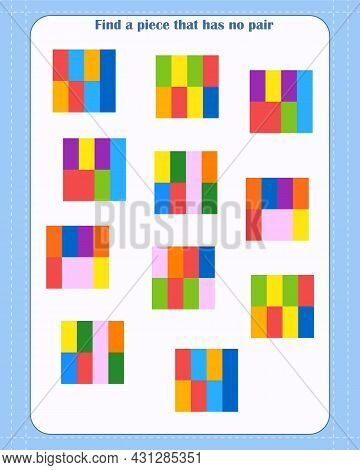 Logic Game For Children. Find Which Shape Is Unpaired. Development Of Attention