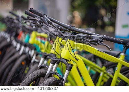 Many Different Bicycles In A Row. Bicycles In The Parking Lot. Sale Of Bicycles. Bicycle Rental.