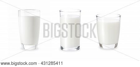 3 Glasses Of Milk Isolate On White Background. Fresh Milk In Various Glasses With Clip Path For Die
