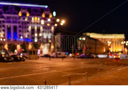Blurred Image Of The Night City. Boke Lights.