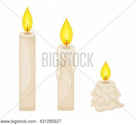 Wax Candles With Flame In Different Stages Of Burn. Vector Cartoon Set Of Paraffin Candles With Fire