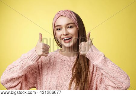 Totally Approve. Girl Agrees Taking Part In Interesting Activity Smiling Joyful, Staying Positive Sh