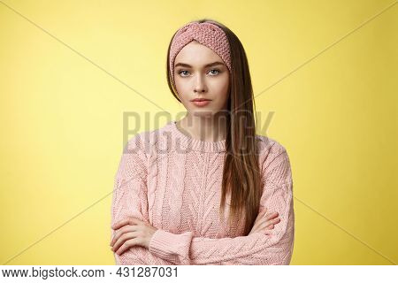 Serious-looking Bossy Focused Intense Young Female Office Worker Cross Arms Over Chest In Defensive