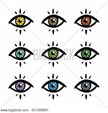 Colorful Mystical, Magical Eyes Icons Set, Collection For Fortune-telling, Clairvoyance, Predictions
