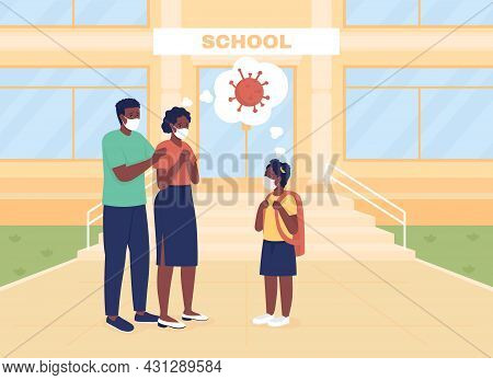 Worried Parents See Their Daughter Off To Lessons Flat Color Vector Illustration. Back To School. Mo
