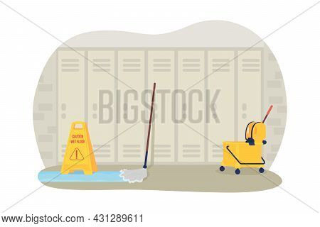 Empty School Hallway 2d Vector Isolated Illustration. Covid Precaution Measures. Mopping Equipment A