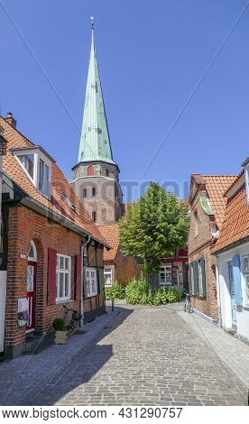 Sunny Old Town Scenery At Travemuende In Germany