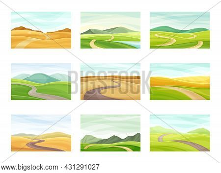 Winding Road Going Into The Distance And Grassy Hill Vector Set