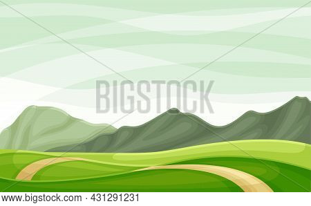 Wandering Road Going Into The Distance Through Green Grassy Valley Vector Illustration