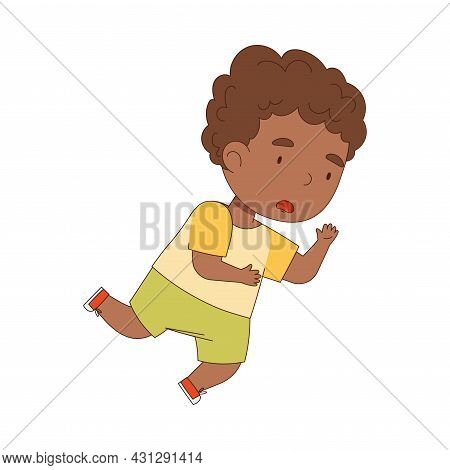 Cute African American Boy Tumbling Over And Stumbling While Running And Rushing At Full Speed Vector