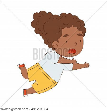 Cute African American Girl Tumbling Over And Stumbling While Running And Rushing At Full Speed Vecto