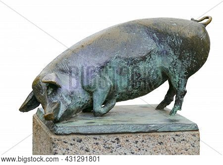 Pig Sculpture At The Schweinsbruecke In Wismar Isolated In White Back