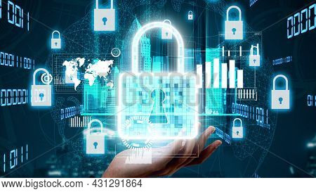 Cyber Security Encryption Technology To Protect Data Privacy Conceptual . 3d Render Computer Graphic