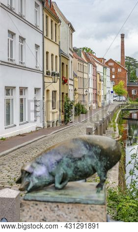 Old Town Scenery Around The Schweinsbruecke In Wismar, A Hanseatic City In Northern Germany
