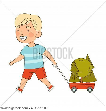 Little Boy Pulling Trolley With Trees Saving Planet Taking Care Of Globe Planting Vector Illustratio