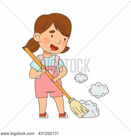 Little Girl Sweeping The Floor With Broom Vector Illustration