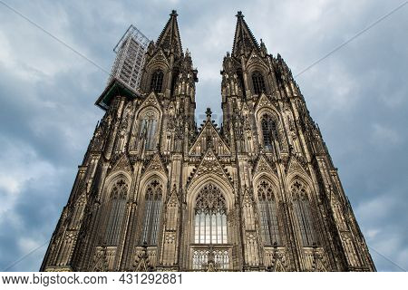 Cologne, Germany - June 05, 2021. Facade Of The Cathedral Church Of Saint Peter, Catholic Cathedral