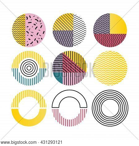 Set Of Geometric Circles In Memphis Style. Retro Elements For Web, Vintage, Advertisement, Commercia