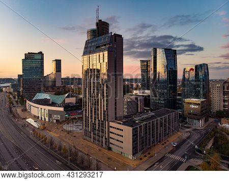 Vilnius, Lithuania - October 2020: Beautiful Aerial Evening View Of Vilnius Business District With S
