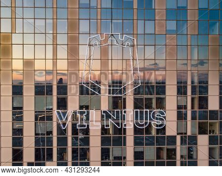 Vilnius, Lithuania - October 2020: Logo Of Vinius City On Government Building. Beautiful Aerial Even