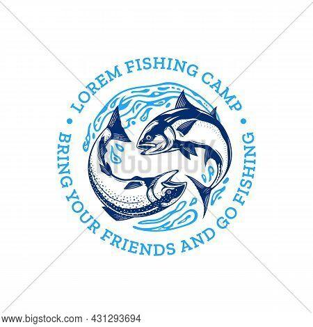 Fishing Logo With Fish And Water Splash