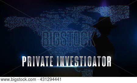 Abstract Futuristic Technology Blue Background Of Silhouette Private Investigator Detective And Nort
