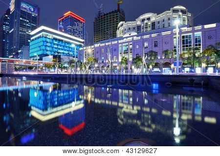 The cityscape of Xinyi District in Taipei, Taiwan, generally considered the financial district of the city.