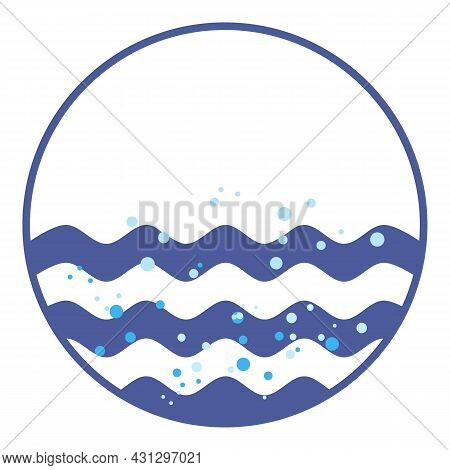 Round Emblem With Sea Waves And Air Bubbles In Water. Ocean Waves For Nautical Logo Design. Neptunia