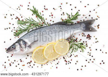 Fresh Uncooked Seabass With Lemon And Rosemary Isolated On White Background