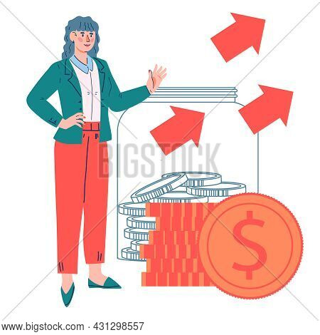 Successful Business Woman Standing Near By Stack Of Money And Coins, Flat Vector Illustration. Finan
