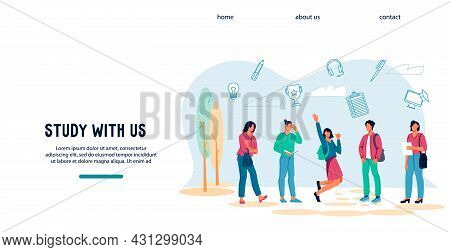 Learning And Education Website With University Or College Students Characters. Web Banner For Studen