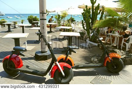 Fuerteventura, Canary Islands, Spain - September 16, 2018 : Electric Scooters Outside A Restaurant O