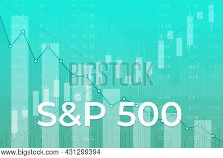 American Financial Market Index S And P 500 (ticker Spx) On Blue Finance Background From Numbers, Gr