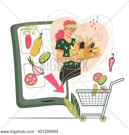 Online Grocery And Farm Internet Store Banner. Farmer Offering His Vegetables From Mobile Phone Scre