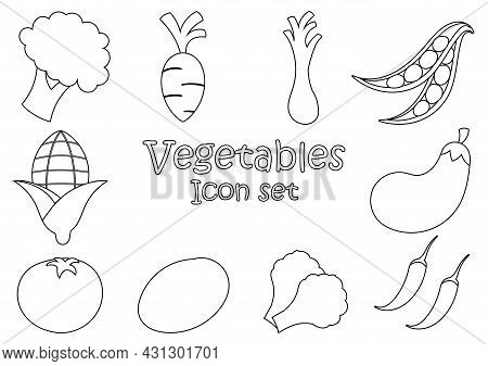 Fresh Vegetable Outline Illustration Set Consisting Of Broccoli, Carrots, Scallions, Chickpeas, Toma