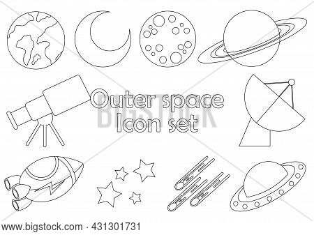 Set Of Outline Icons With Space Theme With Rocket, Ufo, Moon, Star, Planet, Meteor And Satellite Des