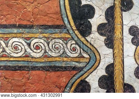 Ancient Greek Fresco Background, Beautiful Wall Ornament Painting. Detail Of Color Hellenistic Patte
