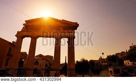 Roman Agora In Sunlight, Athens, Greece. This Place Is Famous Tourist Attraction Of Old Athens. Sunn