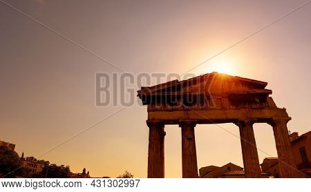 Ancient Greek Ruins In Roman Agora, Athens, Greece. This Place Is Landmark Of Athens. Sunny View Of