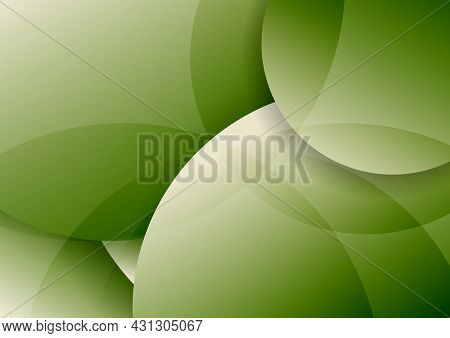 Abstract Green Circles Layer Overlapping And Shadow With Lighting Background. Vector Illustration