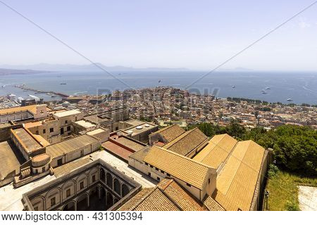 Naples, Italy - June 27, 2021: View Of The City And Certosa Di San Martino From Castel Sant'elmo.