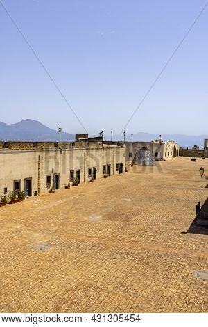 Naples; Italy - June 27; 2021: Modern Art, Metal Sculpture On Top Of Medieval Castel Sant'elmo. Volc