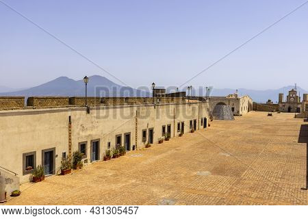 Naples, Italy - June 27, 2021: Castel Sant'elmo, Medieval Fortress Located On Vomero Hill. The Castl
