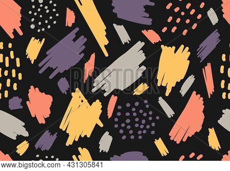 Abstract Aesthetic Hand Drawn Brush Strokes, Spot Seamless Pattern On Black Background. Vector Illus