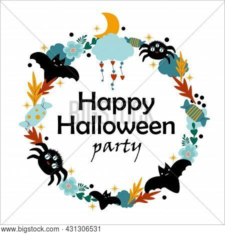 Cute Halloween Childish Holiday Frame Banner Design With Candy, Moon, Bat And Spider. Vector Flat St