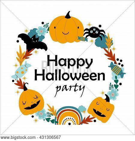 Cute Halloween Childish Holiday Frame Banner Design With Candy, Pumpkin, Rainbow, Bat And Spider. Ve